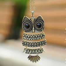Fashion Jewellery Vintage BRONZE Cute Owl Long Chain Pendent Necklace