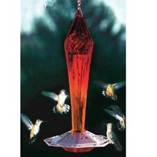 RUBY RED Faceted Blown Glass HUMMINGBIRD Feeder by SCHRODT PBBSFGHFR
