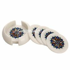 White Marble Coffee Coaster Set Multi Stone Inlay Dining Table Decor Gift H3563