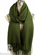New Pure Green Unisex's Winter Warm Pashmina Soft Long Wrap Shawl Scarf Stole