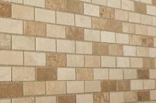 "Sample of Tumbled Mixed Travertine Brick Mosaic Tiles 48 x 100 mm (2"" x 4"")"