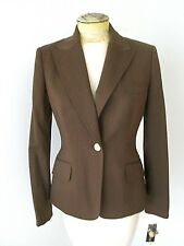 NWT Anne Klein Chocolate Bronze Stretch Worsted Wool Blazer Career Jacket 4P