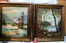 "Vintage PAIR LANDSCAPE OIL PAINTINGS Gold Gilt WOOD Frame Ornate Trim 26"" x 30"""