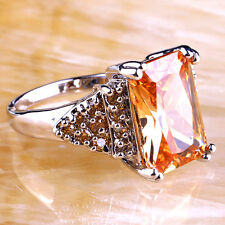 Bezel Emerald & Round Cut Morganite Gemstone Silver Ring Size 9