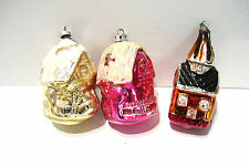 3 Vintage Christmas Ornaments Buildings - Cottage Church Occupied Japan Poland
