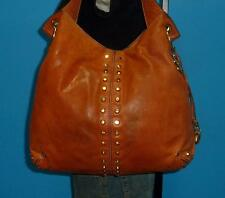 """MICHAEL KORS Brown Leather """"Uptown Astor"""" Leather Studded Satchel Tote Purse"""