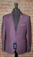 42 L NEW MENS SLIM FIT HENRY UOMO BURGUNDY PIN DOT 2 PC SUIT