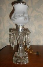 Vintage Shabby Chic Glass Boudoir Lamp w/Crystals & Silver, Etched Details