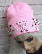 BABY PINK BEANIE HAT TRIANGLES AND STUDS STREET WEAR HIPSTER INDIE  BEANIE