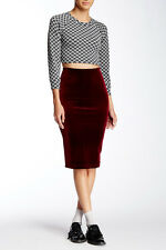 NWT American Apparel Cabernet Burgandy Velvet Midi Pencil Bodycon Skirt XS/S