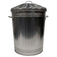 Metallo zincato Cestino Rifiuti Spazzatura da esterni Giardino Stoccaggio Pattumiera + COPERCHIO 90 litro