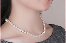 "Superb 18""8-9mm Natural South sea genuine white round pearl necklace"
