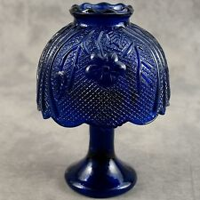 COBALT BLUE GLASS FAIRY CANDLE LAMP WITH FLORAL PATTERN SHADE & TEALIGHT CANDLE