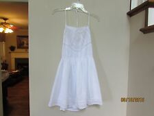 juniors size L Forever 21 F21 Solid White Summer Beach Sundress Dress Lined