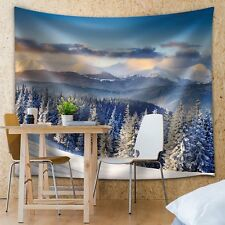 Snowed in Pine Trees Up on the Mountains - Fabric Tapestry, Home Decor - 51x60