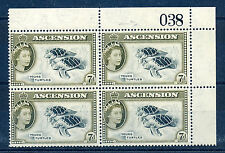 ASCENSION 1956 DEFINITIVES SG65 7d BLOCK OF 4 WITH SHEET NUMBER MNH