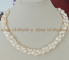 """NATURAL 3 STRANDS RARE WHITE BAROQUE CULTURED PEARL NECKLACE 17"""" AAA"""
