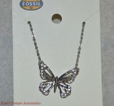 Fossil Brand Shiny Silver Tone Clear Crystal Butterfly Cut-Out Pendant Necklace