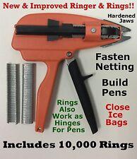 """Ringer &10,000pcs. 9/16"""" Galv Hog Rings for Stanley Ringer Gun Aviary Net Attach"""