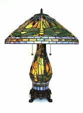 "Tiffany Style Yellow Dragonfly Table Lamp W/Illuminated Base 20"" Shade"