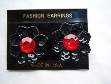 GOTHIC HALLOWEEN COSTUME EARRINGS STUD BLACK SEQUIN FLOWER RED ACRYLIC CENTER