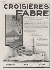 """""""CROISIERES FABRE"""" Annonce orig. entoilée L'ILLUSTRATION 18/02/1928 Sandy HOOK"""