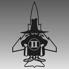 F-4 Phantom II Spook Decal Classic Fighter Jet Black with Jet Outline Sticker