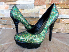 $99 RACHEL Rachel Roy Green Sparkle Platform Heels Evening Women's Shoes Sz 8
