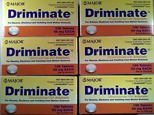 Major Driminate 50mg for Motion Sickness (Compare to Dramamine) -100ct - 6 Pack