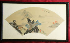 Lot of 4 China Chinese Fan Shape Painting Landscapes On Silk ca. 20th century