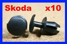 10 SKODA front light lamp nozzel washer wiper grille panel cover fastener clips
