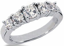 1.07 carat 5 stone Engagement ROUND DIAMOND RING Wedding BAND F color VS clarity