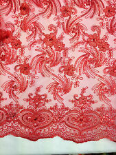 Embroidered Sequins Net Lace Floral pattern flowers Non Stretch Fabric