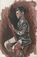 ARTIST AT EASEL Watercolour Painting ARTHUR MITSON c1985 IMPRESSIONIST