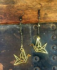 Anthropologie Cutout Flying Brass Bird Antique Bronze Chain Dangle Drop Earrings