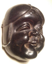 Finely Carved Antique Japanese Netsuke Mask Highest-Quality - Mennetsuke