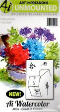 New ART IMPRESSIONS RUBBER STAMP Cling MINI watercolor set 4 chest of flowers