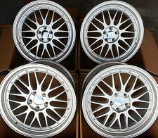 "18"" SILVER ALLOY WHEELS STAGGERED 5X100 FITS VOLKSWAGEN VW GOLF / POLO MK4"