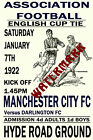 MANCHESTER CITY - VINTAGE 1920's STYLE MATCH POSTER