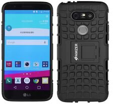 AMZER Dual Layer Hybrid Warrior Case Rugged Cover w/Stand For LG G5 Titan -Black