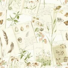 NEW GRANDECO NATURE DIARY FLORAL BUTTERFLY PATTERN CALLIGRAPHY MOTIF WALLPAPER