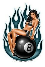 SEXY GIRL STICKER Tattoo - Eightball Pin-up Babe Decal