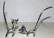CAT FIGURINES STANDING LOT BLUE GLASS EYES METAL UNKNOWN