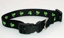 """NEW 5/8"""" Wide Nylon Dog Paw Printed Black Collar Size Small 11""""-16"""" Neck"""