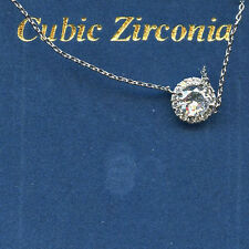 3/4 CARAT 6MM ROUND CUT RUSSIAN CZ HALO SOLITAIRE NECKLACE