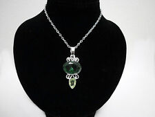 Emerald Green Silver Filigree Crystal Elvish Medieval Victorian Pendant Necklace