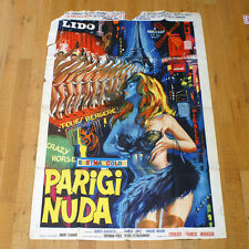PARIGI NUDA poster manifesto Paris Moulin Rouge Can Can Show Girl Pigalle Sexy