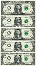 Five (5) Crisp New Uncirculated 2013 One Dollar ($1) *Star* Notes from Bep Pack