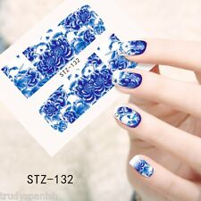 Nail Art Water Decals Wraps Blue White Vintage Floral Summer Flower Gel Polish