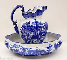 Victoria Ware Ironstone Blue/White Pitcher and Bowl Basin Set